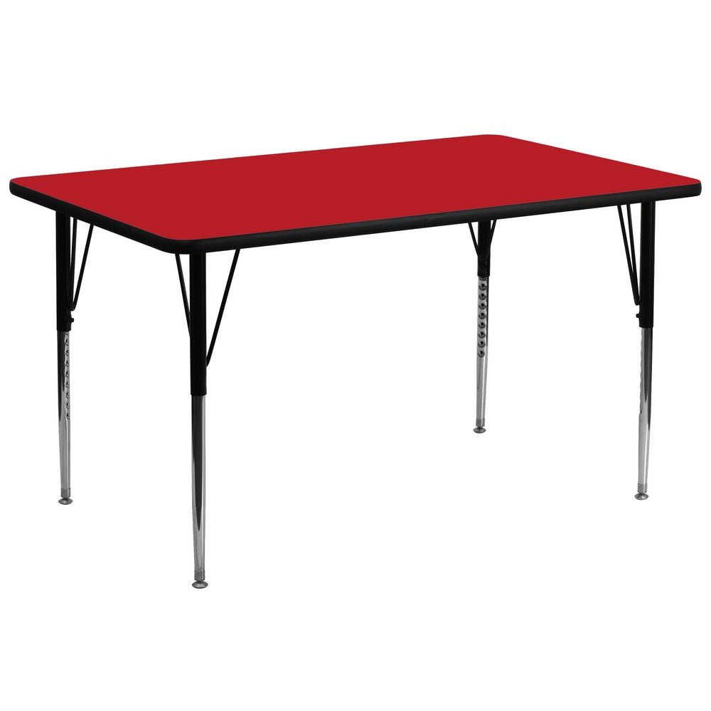 "Flash Furniture XU-A3072-REC-RED-H-A-GG Rectangular Activity Table with High Pressure Red Laminate Top, Standard Height Adjustable Legs 30"" x 72"""