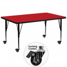 "Flash Furniture XU-A3072-REC-RED-H-P-CAS-GG Mobile Rectangular Activity Table with High Pressure Red Laminate Top and Height Adjustable Pre-School Legs 30"" x 72"""