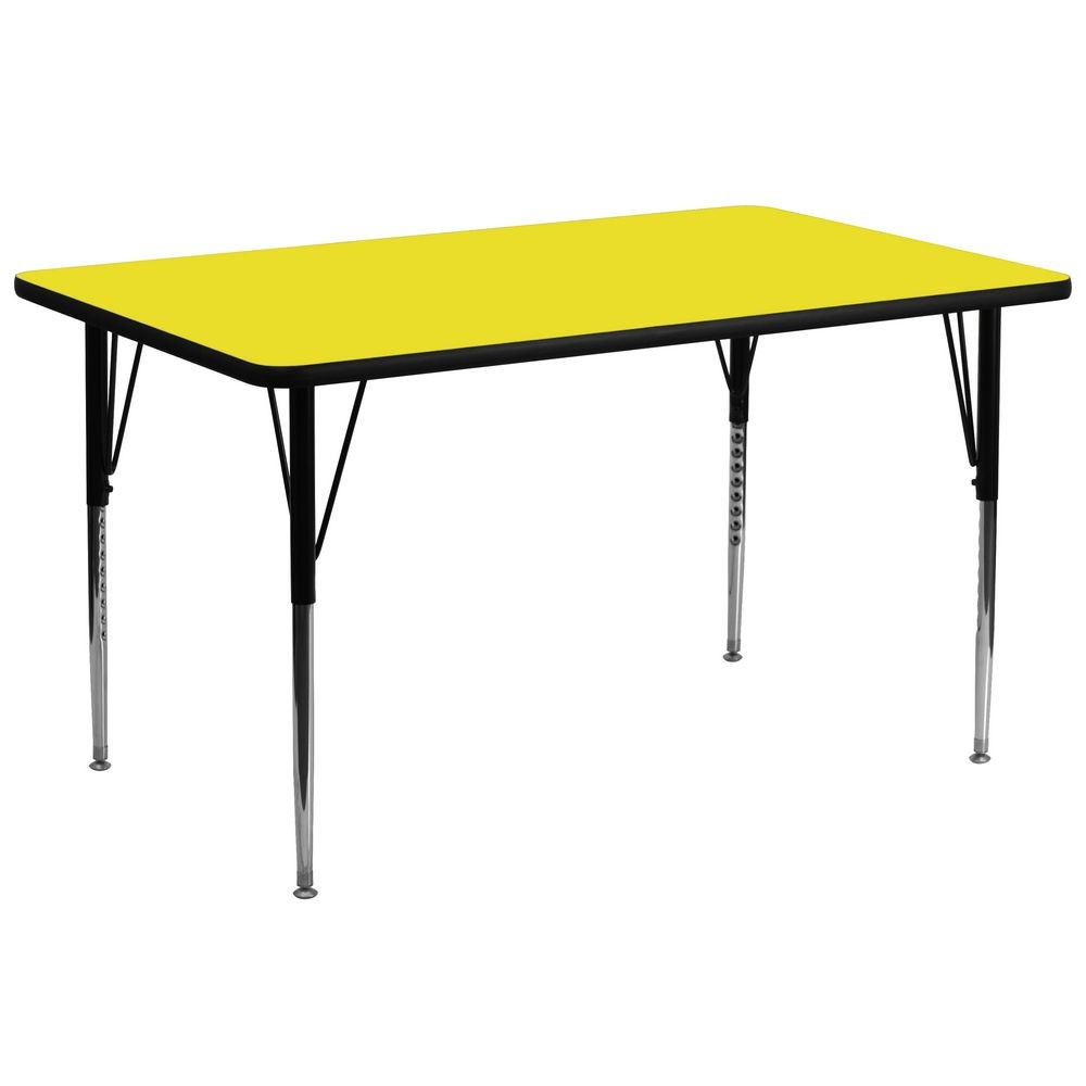 "Flash Furniture XU-A3072-REC-YEL-H-A-GG Rectangular Activity Table, High Pressure Yellow Laminate Top, Standard Height Adjustable Legs 30"" x 72"""
