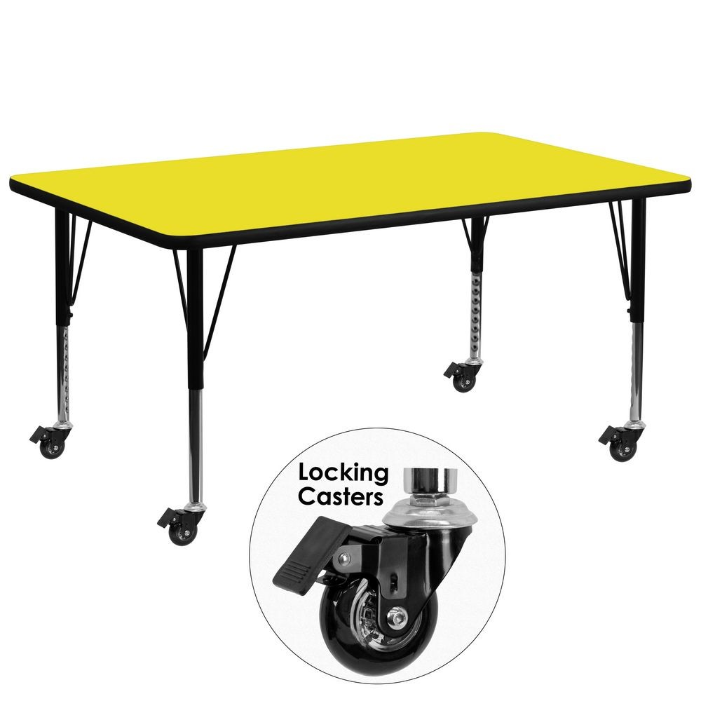 "Flash Furniture XU-A3072-REC-YEL-H-P-CAS-GG Mobile Rectangular Activity Table with High Pressure Yellow Laminate Top and Height Adjustable Pre-School Legs 30"" x 72"""
