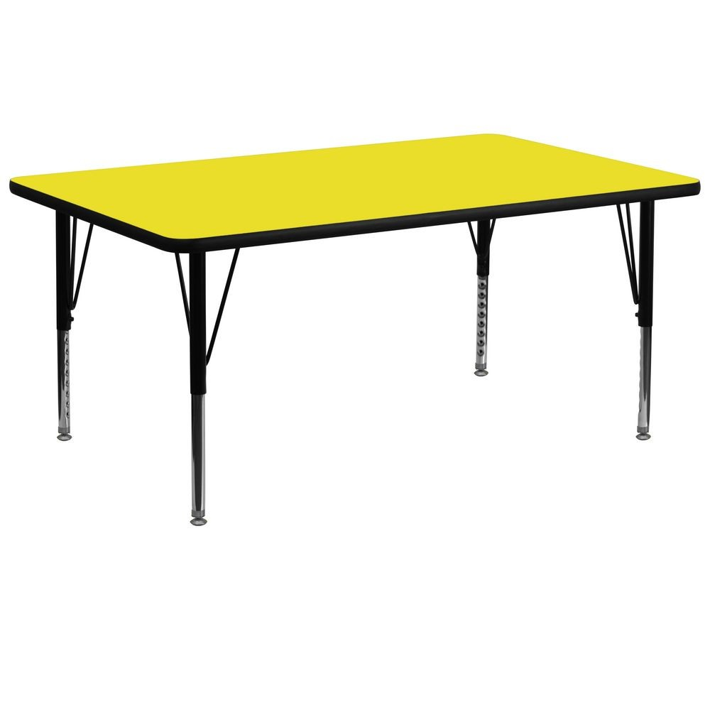 "Flash Furniture XU-A3072-REC-YEL-H-P-GG Rectangular Activity Table with High Pressure Yellow Laminate Top, Height Adjustable Pre-School Legs 30"" x 72"""
