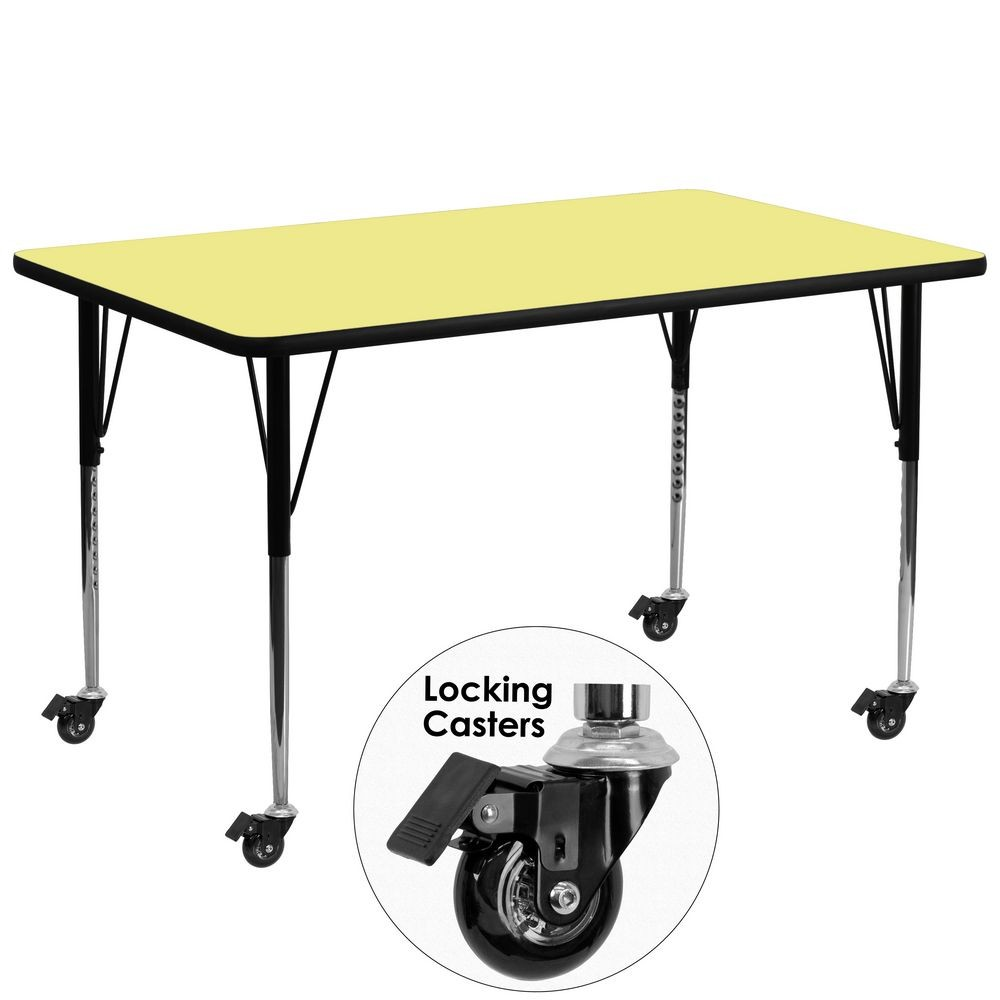"Flash Furniture XU-A3072-REC-YEL-T-A-CAS-GG Mobile Rectangular Activity Table with Yellow Thermal Fused Laminate Top, Standard Height Adjustable Legs 30"" x 72"""