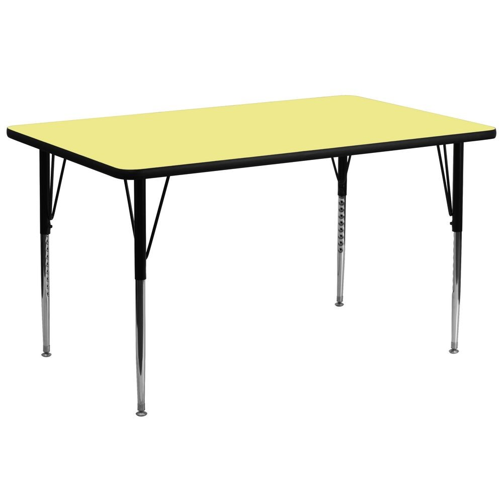 "Flash Furniture XU-A3072-REC-YEL-T-A-GG Rectangular Activity Table with Yellow Thermal Fused Laminate Top and Standard Height Adjustable Legs 30"" x 72"""