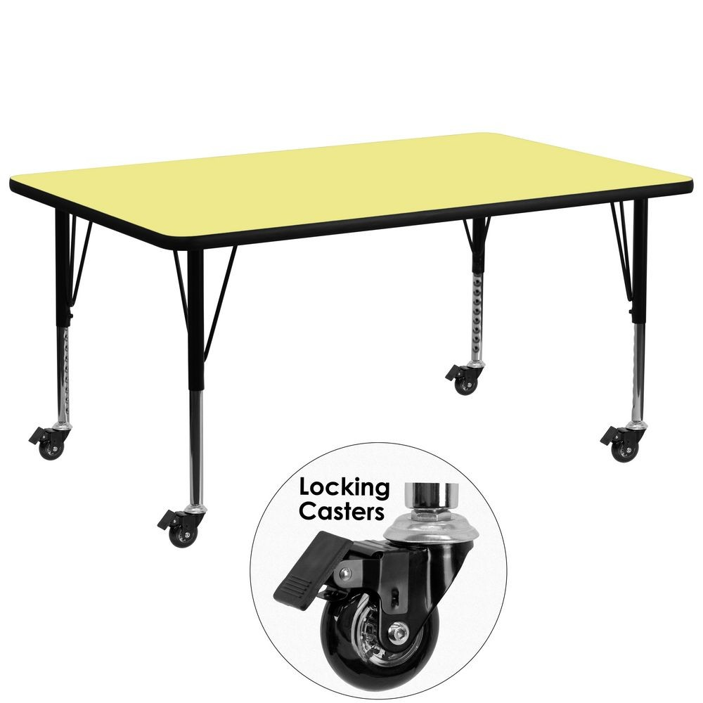"Flash Furniture XU-A3072-REC-YEL-T-P-CAS-GG Mobile Rectangular Activity Table with Yellow Thermal Fused Laminate Top and Height Adjustable Pre-School Legs 30"" x 72"""
