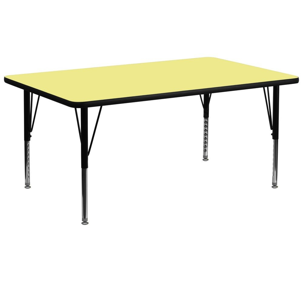 "Flash Furniture XU-A3072-REC-YEL-T-P-GG Rectangular Activity Table, Yellow Thermal Fused Laminate Top, Height Adjustable Pre-School Legs 30"" x 72"""