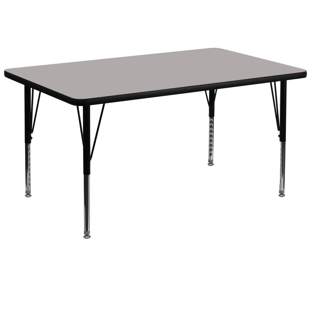 "Flash Furniture XU-A3672-REC-GY-H-P-GG Rectangular Activity Table with High Pressure Grey Laminate Top, Height Adjustable Pre-School Legs 36"" x 72"""