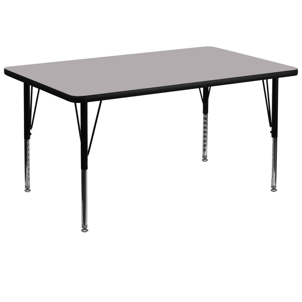 "Flash Furniture XU-A3672-REC-GY-T-P-GG Rectangular Activity Table with Grey Thermal Fused Laminate Top and Height Adjustable Pre-School Legs 36"" x 72"""