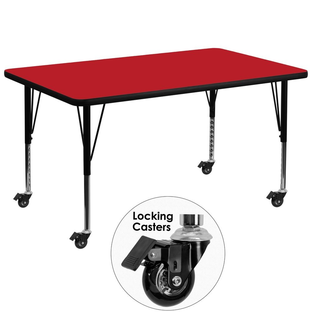 "Flash Furniture XU-A3672-REC-RED-H-P-CAS-GG Mobile 36"" x 72"" Rectangular Activity Table, High Pressure Red Laminate Top, Ht. Adjustable Pre-School Legs"