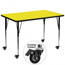 """Flash Furniture XU-A3672-REC-YEL-H-A-CAS-GG Mobile Rectangular Activity Table with High Pressure Yellow Laminate Top, Standard Ht. Adjustable Legs 36"""" x 72"""""""