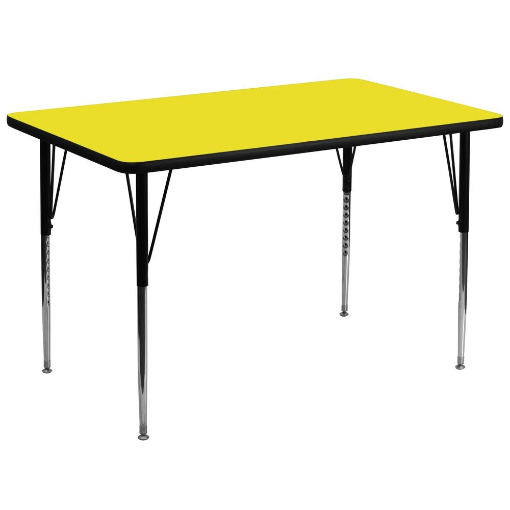 "Flash Furniture XU-A3672-REC-YEL-H-A-GG Rectangular Activity Table with High Pressure Yellow Laminate Top, Standard Height Adjustable Legs 36"" x 72"""