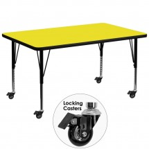 """Flash Furniture XU-A3672-REC-YEL-H-P-CAS-GG Mobile Rectangular Activity Table with High Pressure Yellow Laminate Top and Height Adjustable Pre-School Legs 36"""" x 72"""""""