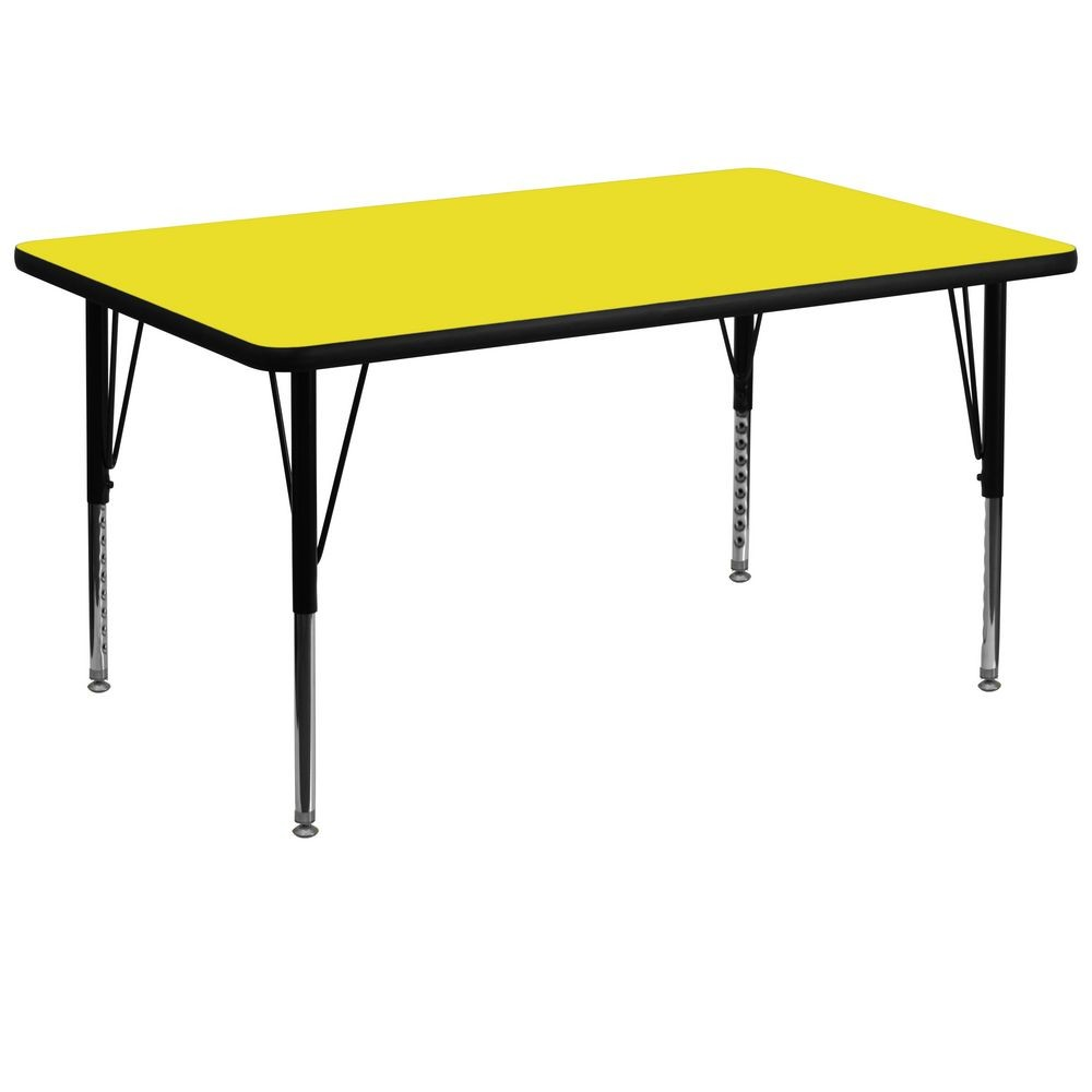 "Flash Furniture XU-A3672-REC-YEL-H-P-GG Rectangular Activity Table with High Pressure Yellow Laminate Top, Height Adjustable Pre-School Legs 36"" x 72"""