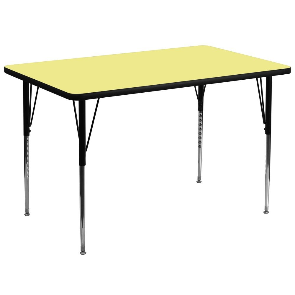 "Flash Furniture XU-A3672-REC-YEL-T-A-GG Rectangular Activity Table with Yellow Thermal Fused Laminate Top and Standard Height Adjustable Legs 36"" x 72"""