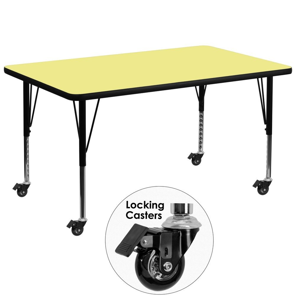 "Flash Furniture XU-A3672-REC-YEL-T-P-CAS-GG Mobile Rectangular Activity Table with Yellow Thermal Fused Laminate Top and Height Adjustable Pre-School Legs 36"" x 72"""