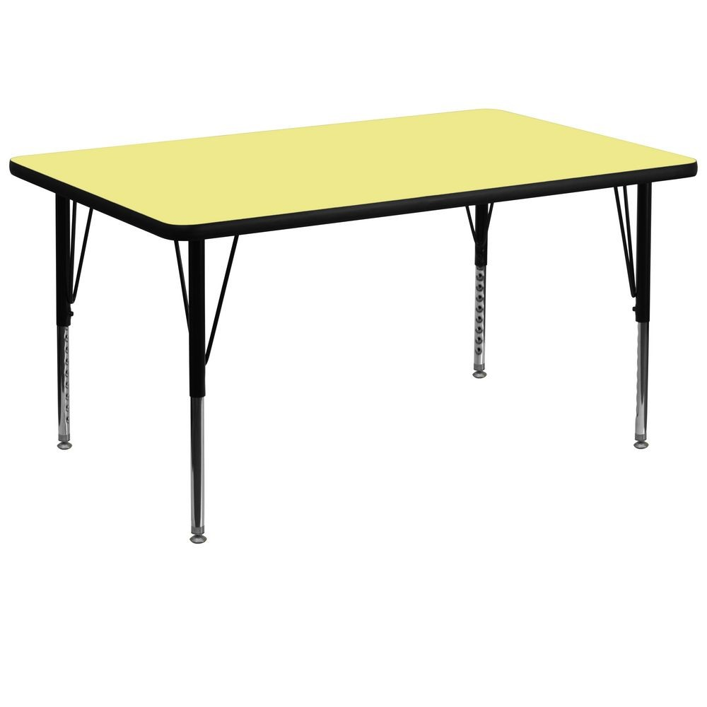 "Flash Furniture XU-A3672-REC-YEL-T-P-GG 36"" x 72"" Rectangular Activity Table, Yellow Thermal Fused Laminate Top, Height Adjustable Pre-School Legs"