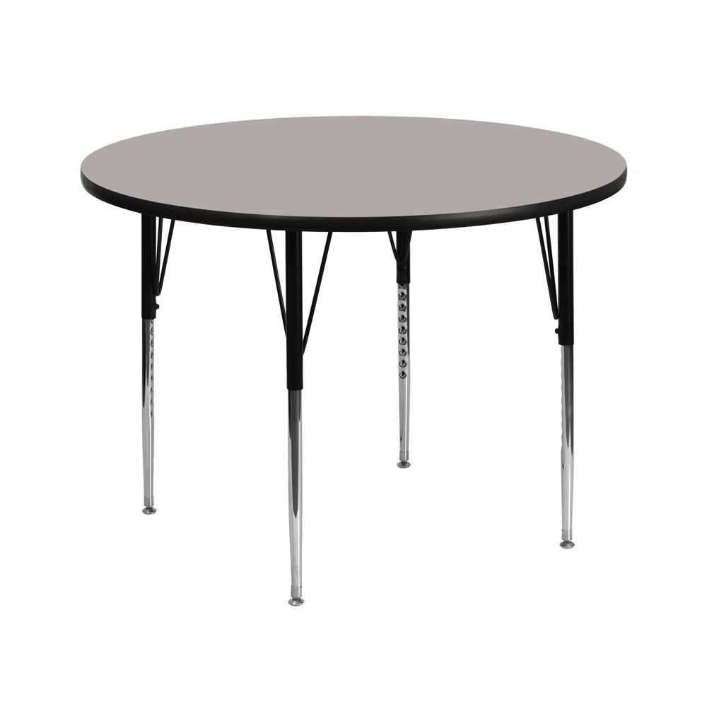 "Flash Furniture XU-A42-RND-GY-H-A-GG Round Activity Table with 1-1/4"" Thick High Pressure Grey Laminate Top and Standard Height Adjustable Legs 42"""
