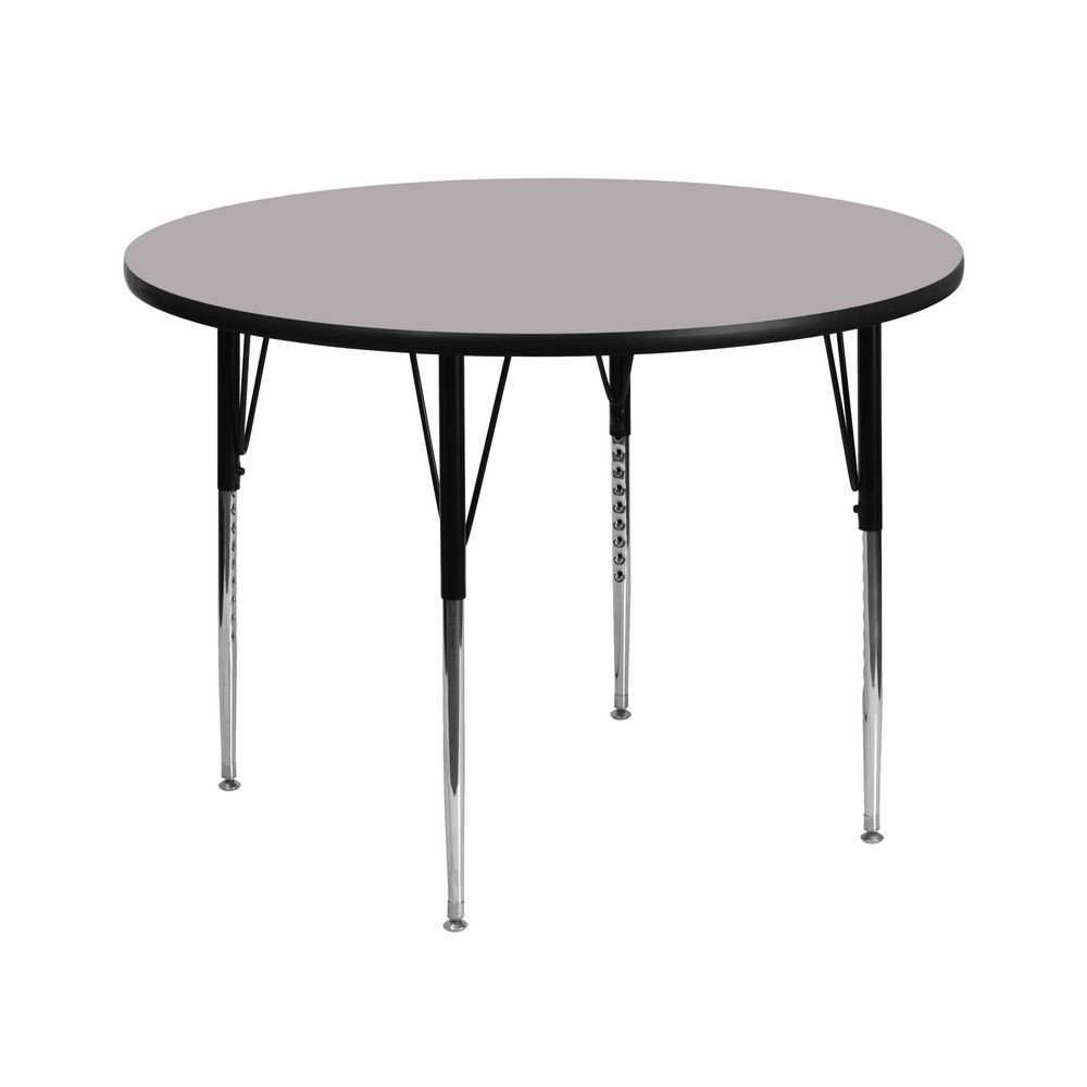 Flash Furniture XU-A42-RND-GY-T-A-GG Round Activity Table with Grey Thermal Fused Laminate Top and Standard Height Adjustable Legs 42""