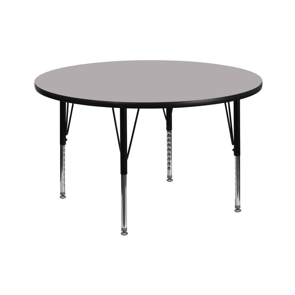 Flash Furniture XU-A42-RND-GY-T-P-GG Round Activity Table with Grey Thermal Fused Laminate Top and Height Adjustable Pre-School Legs 42""