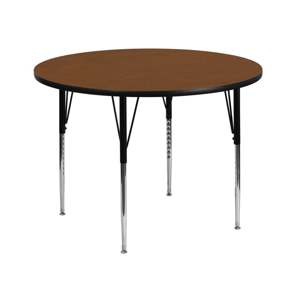 "Flash Furniture XU-A42-RND-OAK-H-A-GG Round Activity Table with 1-1/4"" Thick High Pressure Oak Laminate Top and Standard Height Adjustable Legs 42"""