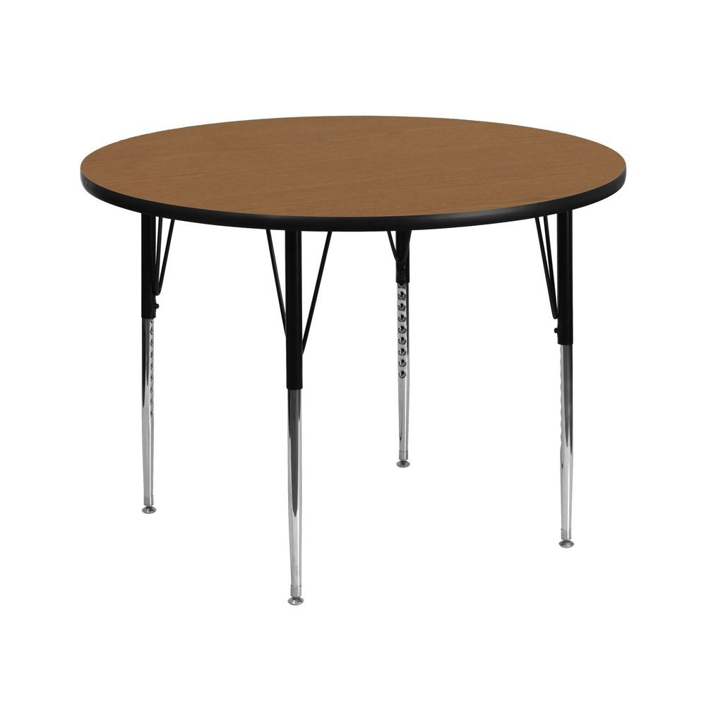 Flash Furniture XU-A42-RND-OAK-T-A-GG Round Activity Table with Oak Thermal Fused Laminate Top and Standard Height Adjustable Legs 42""