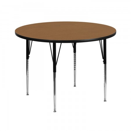 """Flash Furniture XU-A42-RND-OAK-T-A-GG Round Activity Table with Oak Thermal Fused Laminate Top and Standard Height Adjustable Legs 42"""""""
