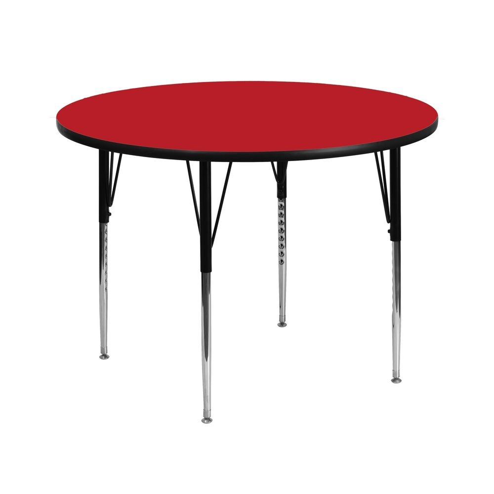 Flash Furniture XU-A42-RND-RED-H-A-GG 42'' Round Activity Table with 1.25'' Thick High Pressure Red Laminate Top and Standard Height Adjustable Legs