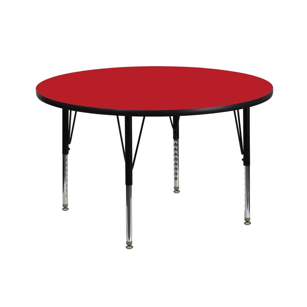 Flash Furniture XU-A42-RND-RED-H-P-GG Round Activity Table with High Pressure Red Laminate Top and Height Adjustable Pre-School Legs 42""