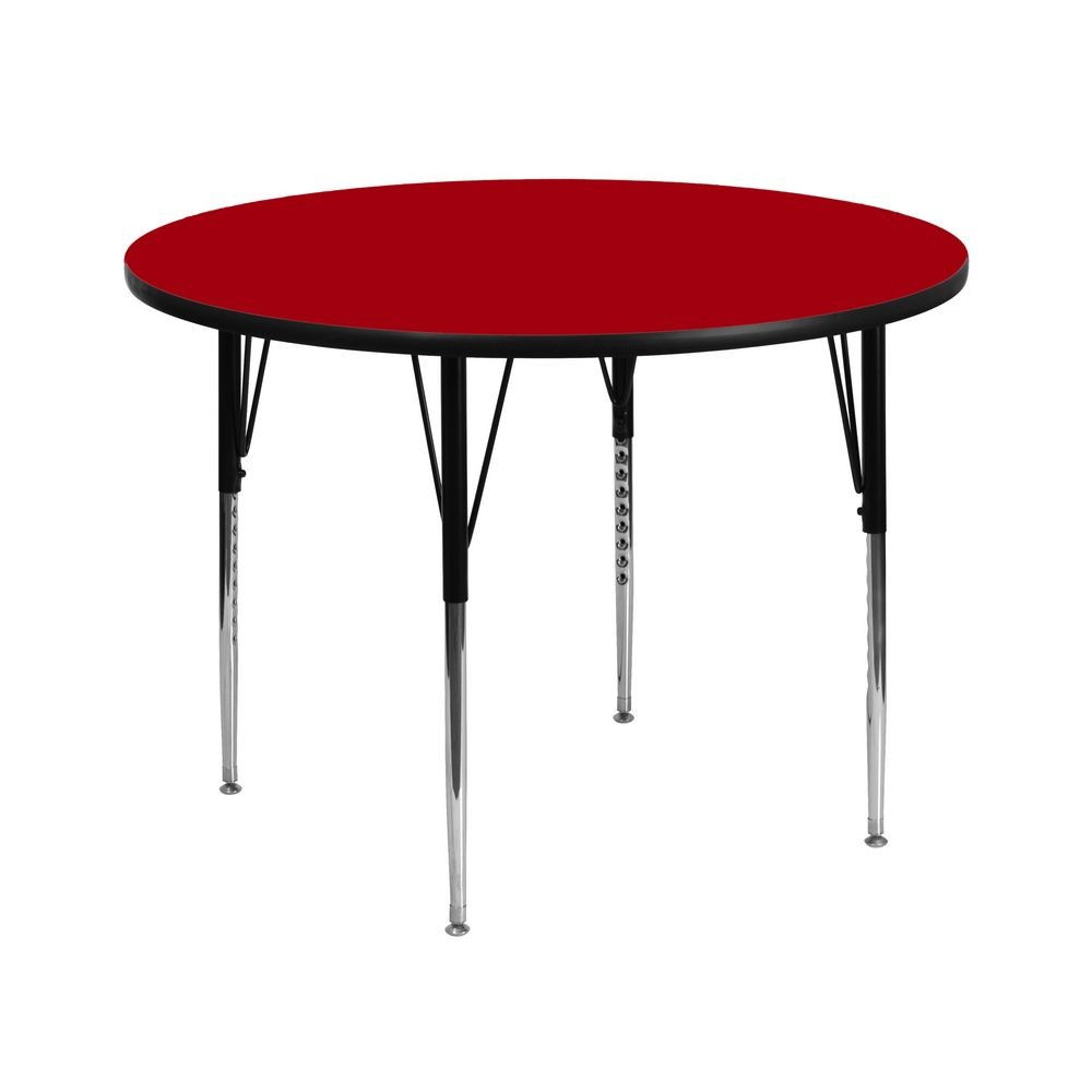 Flash Furniture XU-A42-RND-RED-T-A-GG Round Activity Table with Red Thermal Fused Laminate Top and Standard Height Adjustable Legs 42""