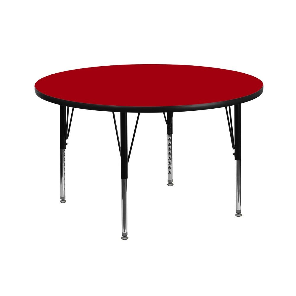 Flash Furniture XU-A42-RND-RED-T-P-GG Round Activity Table with Red Thermal Fused Laminate Top and Height Adjustable Pre-School Legs 42""