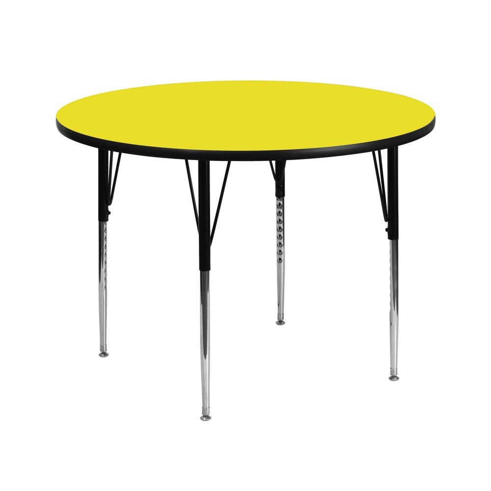 "Flash Furniture XU-A42-RND-YEL-H-A-GG Round Activity Table, 1-1/2"" Thick High Pressure Yellow Laminate Top, Standard Height Adjustable Legs 42"""