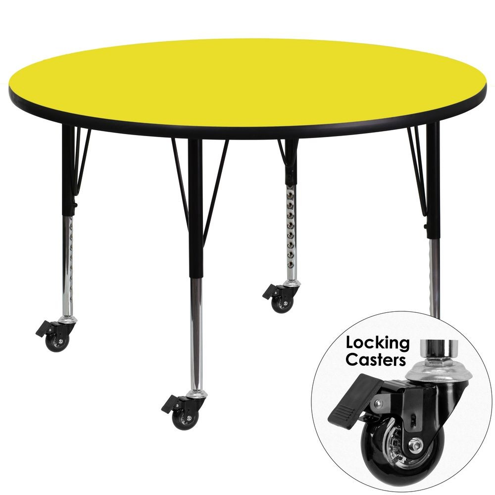 Flash Furniture XU-A42-RND-YEL-H-P-CAS-GG 42'' Mobile Round Activity Table with High Pressure Yellow Laminate Top and Height Adjustable Pre-School Legs