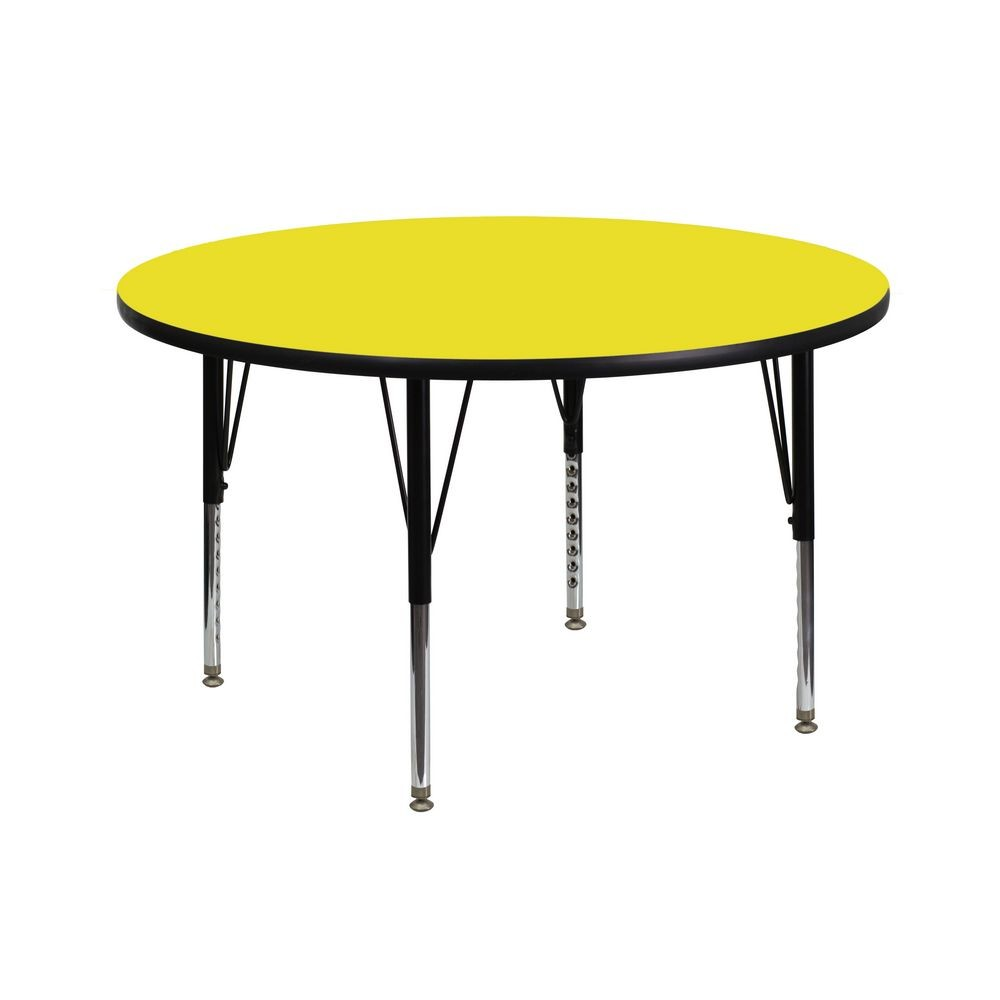 Flash Furniture XU-A42-RND-YEL-H-P-GG Round Activity Table with High Pressure Yellow Laminate Top and Height Adjustable Pre-School Legs 42""