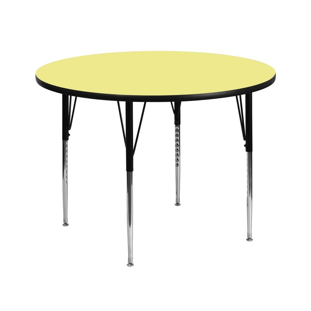 Flash Furniture XU-A42-RND-YEL-T-A-GG Round Activity Table with Yellow Thermal Fused Laminate Top and Standard Height Adjustable Legs 42""