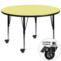 """Flash Furniture XU-A42-RND-YEL-T-P-CAS-GG Mobile Round Activity Table with Yellow Thermal Fused Laminate Top and Height Adjustable Pre-School Legs 42"""""""