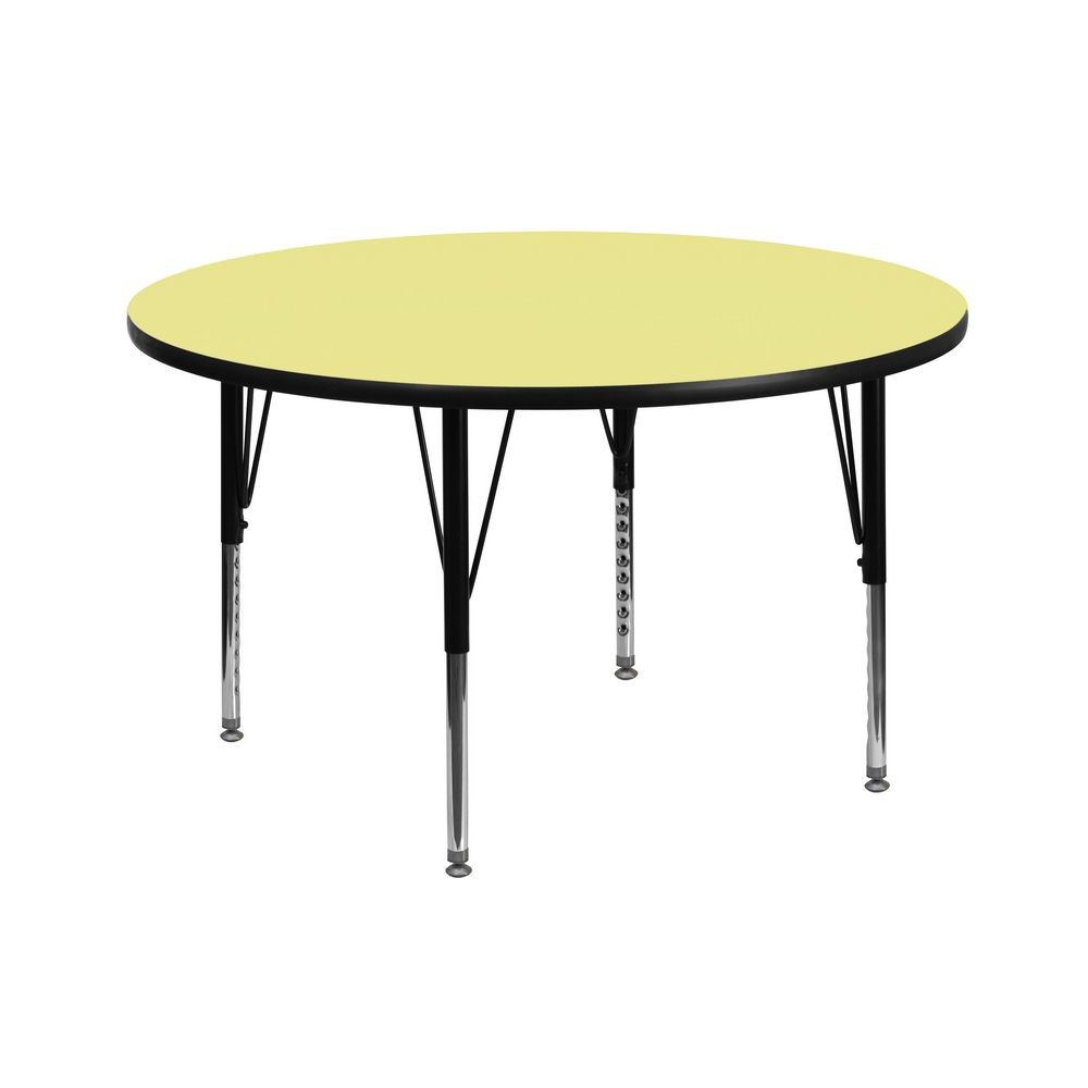 Flash Furniture XU-A42-RND-YEL-T-P-GG Round Activity Table with Yellow Thermal Fused Laminate Top and Height Adjustable Pre-School Legs 42""