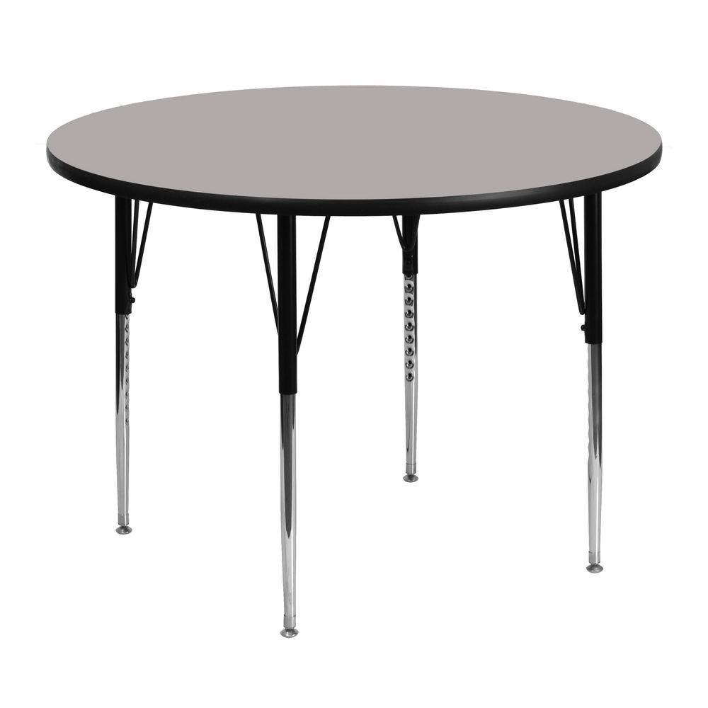 "Flash Furniture XU-A48-RND-GY-H-A-GG Round Activity Table with 1-1/4"" Thick High Pressure Grey Laminate Top and Standard Height Adjustable Legs 48"""