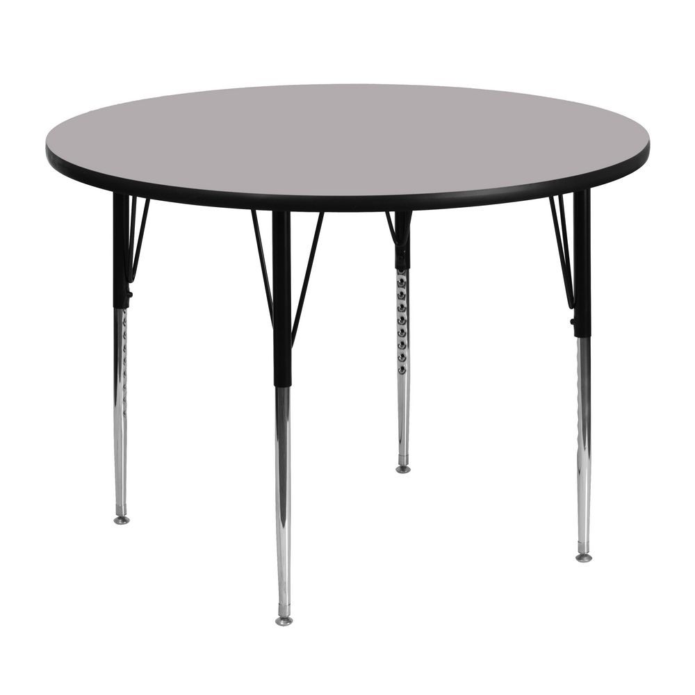 Flash Furniture XU-A48-RND-GY-T-A-GG Round Activity Table with Grey Thermal Fused Laminate Top and Standard Height Adjustable Legs 48""