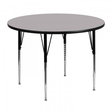 """Flash Furniture XU-A48-RND-GY-T-A-GG Round Activity Table with Grey Thermal Fused Laminate Top and Standard Height Adjustable Legs 48"""""""