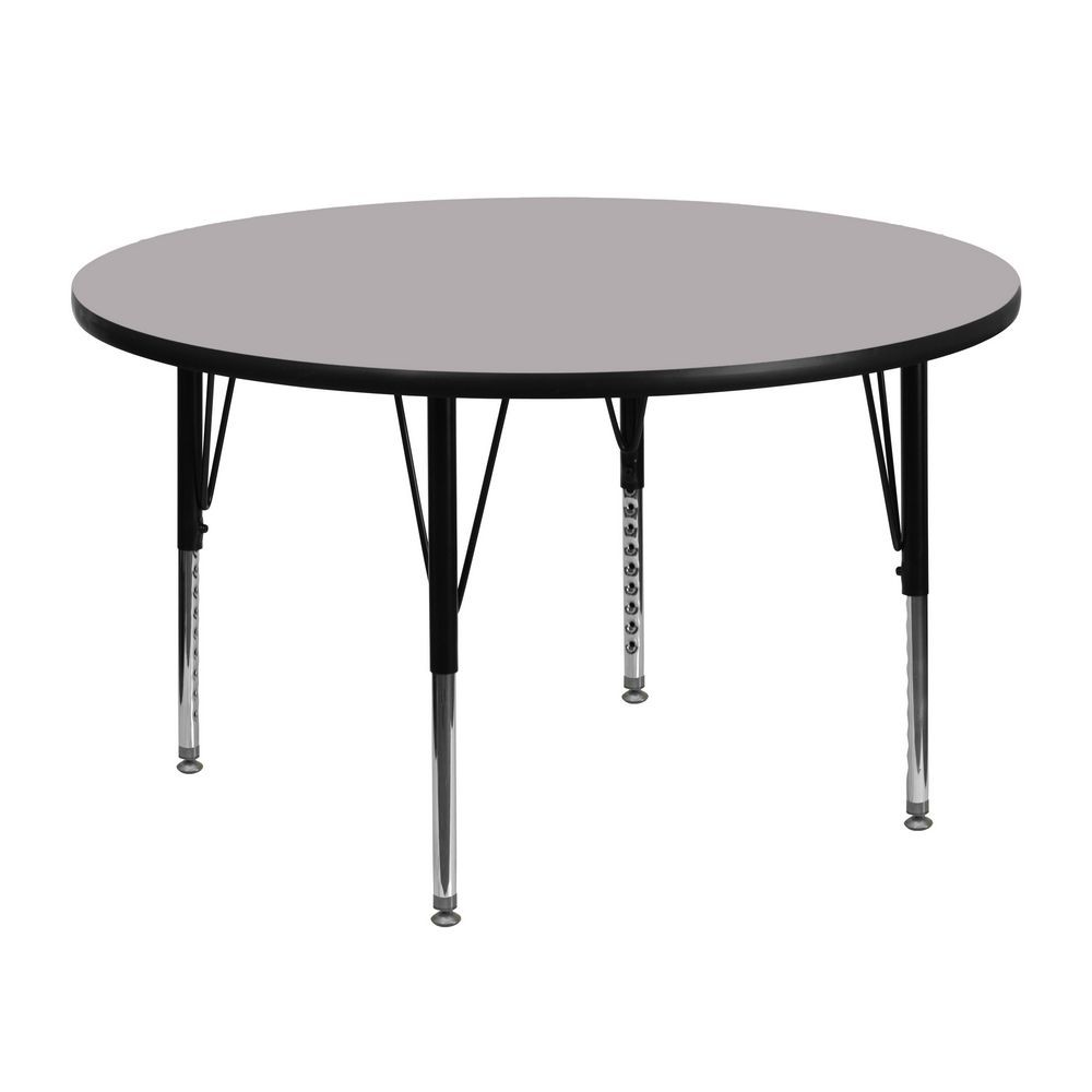 Flash Furniture XU-A48-RND-GY-T-P-GG 48'' Round Activity Table with Grey Thermal Fused Laminate Top and Height Adjustable Pre-School Legs