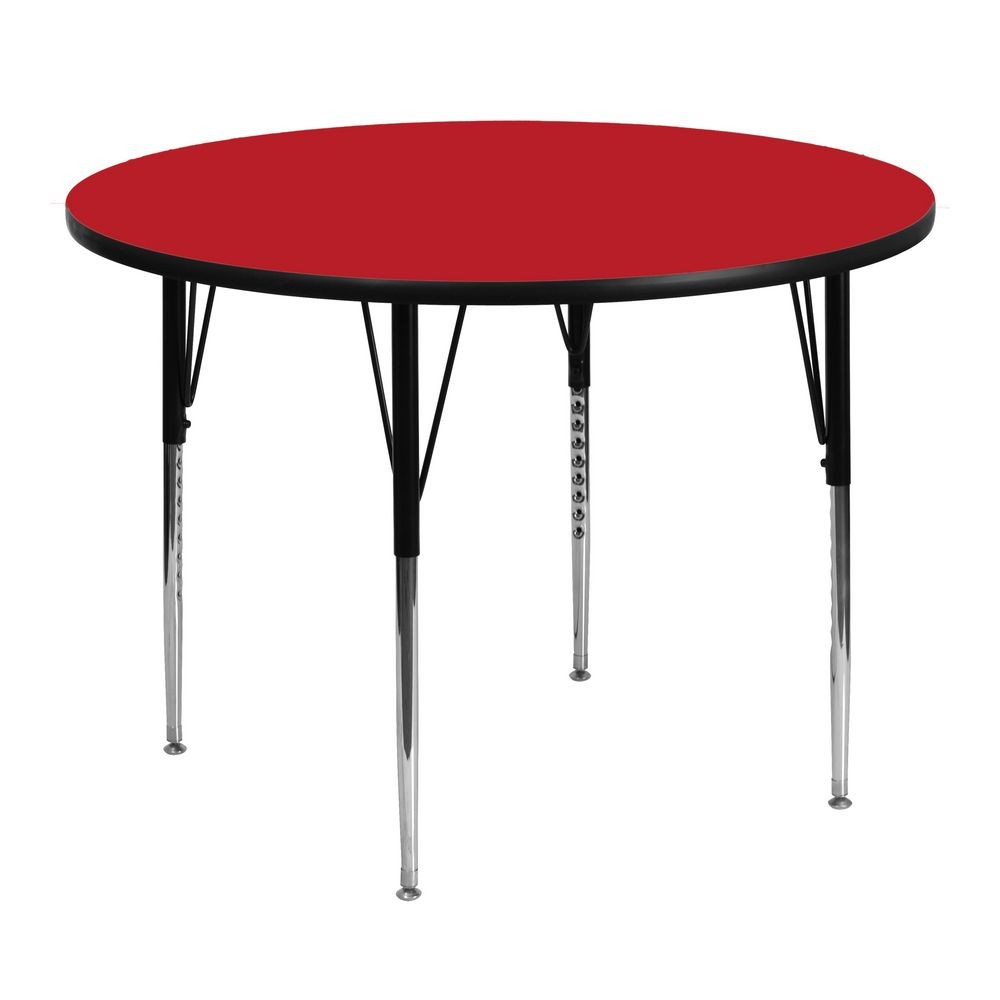 "Flash Furniture XU-A48-RND-RED-H-A-GG Round Activity Table with 1-1/4"" Thick High Pressure Red Laminate Top and Standard Height Adjustable Legs 48"""