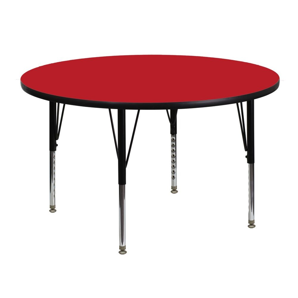 Flash Furniture XU-A48-RND-RED-H-P-GG 48'' Round Activity Table with 1.25'' Thick High Pressure Red Laminate Top and Height Adjustable Pre-School Legs