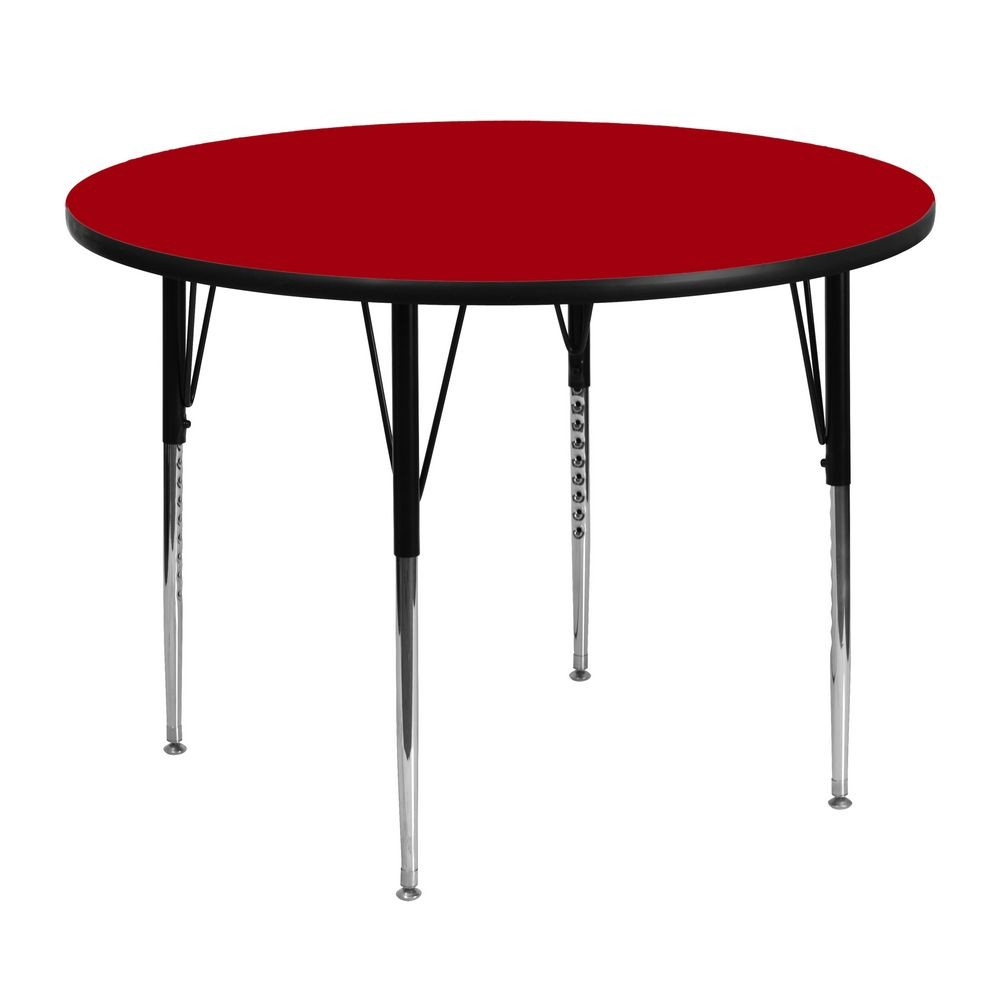 Flash Furniture XU-A48-RND-RED-T-A-GG Round Activity Table with Red Thermal Fused Laminate Top and Standard Height Adjustable Legs 48""
