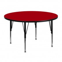 Flash Furniture XU-A48-RND-RED-T-P-GG Round Activity Table with Red Thermal Fused Laminate Top and Height Adjustable Pre-School Legs 48""