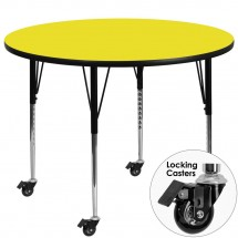 Flash Furniture XU-A48-RND-YEL-H-A-CAS-GG Mobile Round Activity Table with High Pressure Yellow Laminate Top and Standard Height Adjustable Legs 48""