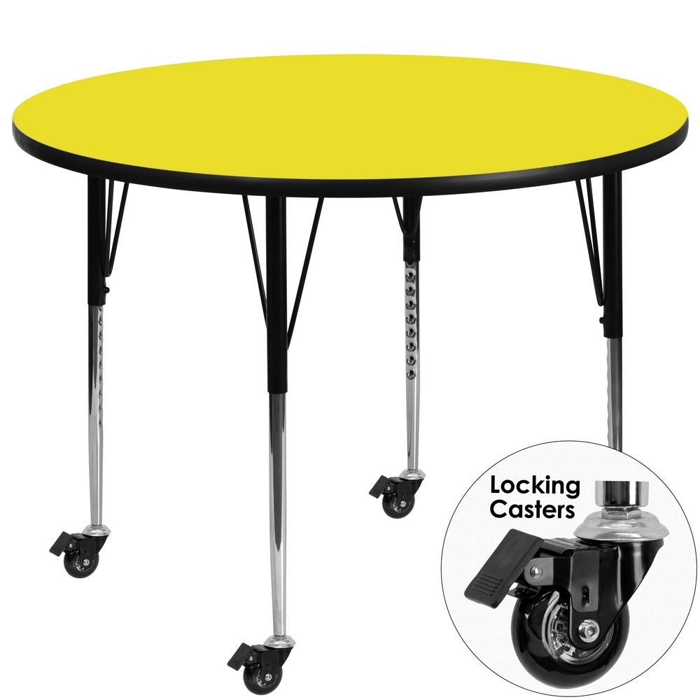 Flash Furniture XU-A48-RND-YEL-H-A-CAS-GG 48'' Mobile Round Activity Table with High Pressure Yellow Laminate Top and Standard Height Adjustable Legs