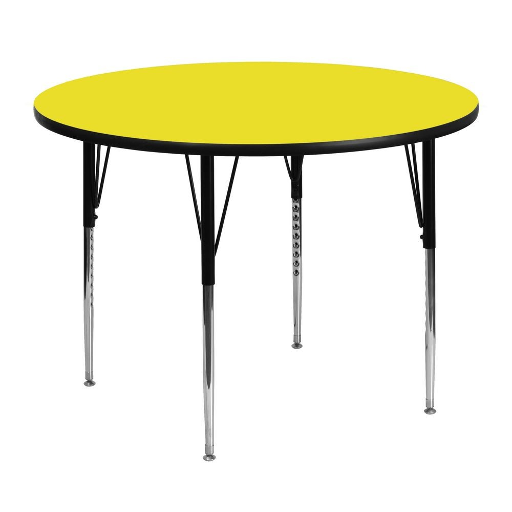 "Flash Furniture XU-A48-RND-YEL-H-A-GG Round Activity Table, 1-1/4"" Thick High Pressure Yellow Laminate Top, Standard Height Adjustable Legs 48"""
