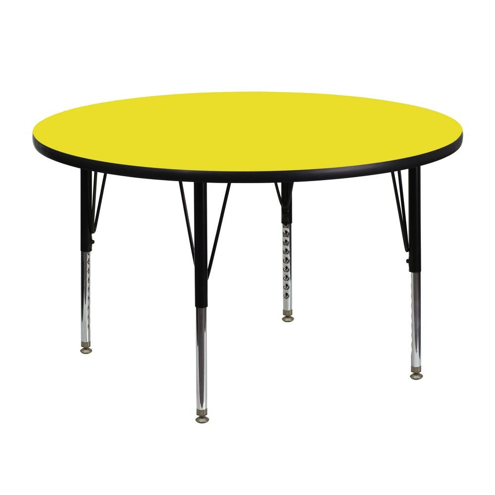 Flash Furniture XU-A48-RND-YEL-H-P-GG Round Activity Table with High Pressure Yellow Laminate Top and Height Adjustable Pre-School Legs 48""