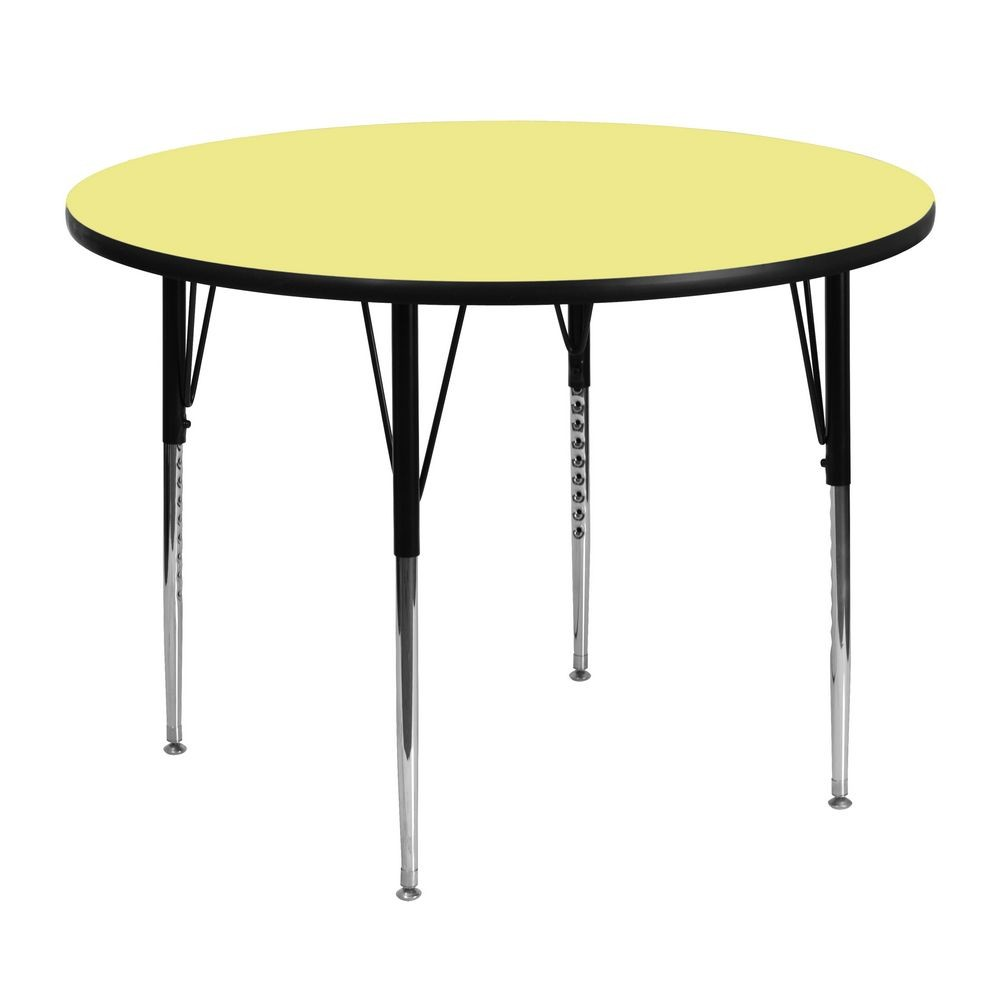 Flash Furniture XU-A48-RND-YEL-T-A-GG Round Activity Table with Yellow Thermal Fused Laminate Top and Standard Height Adjustable Legs 48""