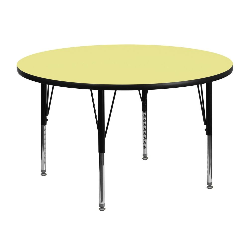 Flash Furniture XU-A48-RND-YEL-T-P-GG Round Activity Table with Yellow Thermal Fused Laminate Top and Height Adjustable Pre-School Legs 48""