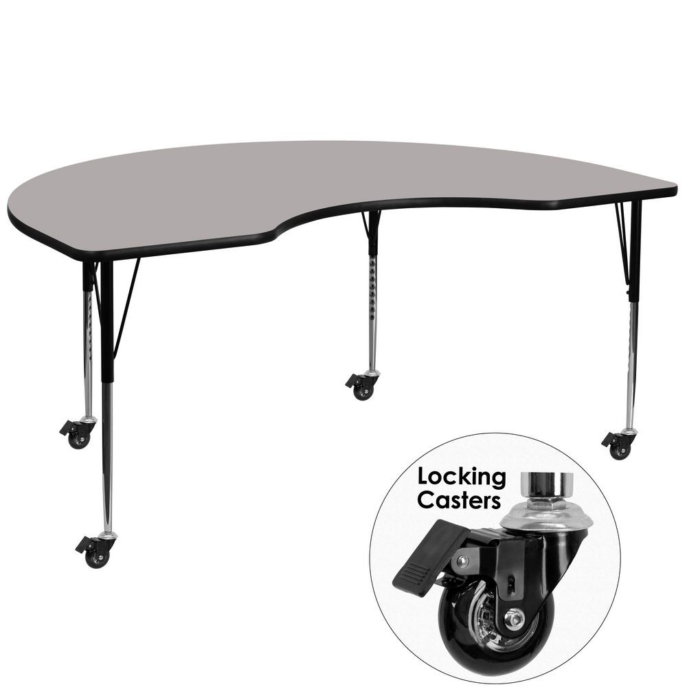 "Flash Furniture XU-A4872-KIDNY-GY-H-A-CAS-GG Mobile Kidney Shaped Activity Table with High Pressure Grey Laminate Top and Standard Height Adjustable Legs 48"" x 72"""